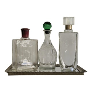 Vintage Mid-Century Decanters and Mirrored Tray - Set of 4 For Sale