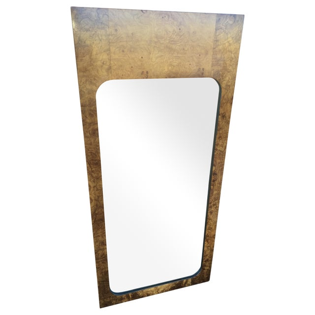 Milo Baughman for Lane Burled Olive Wood Mirror - Image 1 of 4