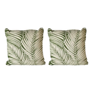 Pair of Kravet Bacularia Palm Print Pillows For Sale