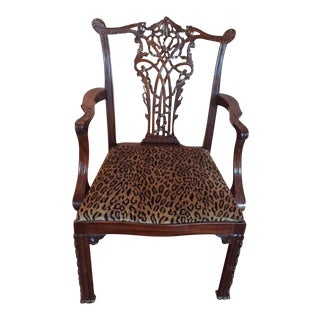 Chippendale Armchair With Elaborate Splat & Leopard Seat