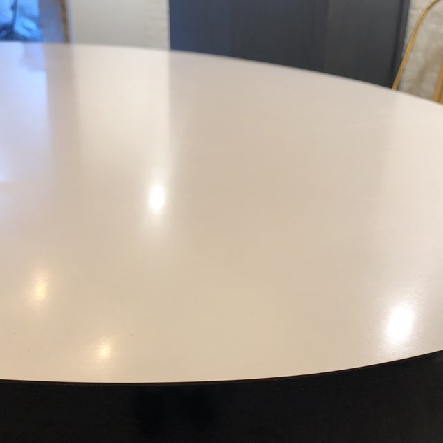 Contemporary ICF Blue & White Oval Table With Metal Base For Sale - Image 9 of 13