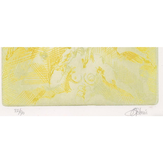 Impromptu Nudes Yellow Etching by Stein 70s For Sale - Image 4 of 6