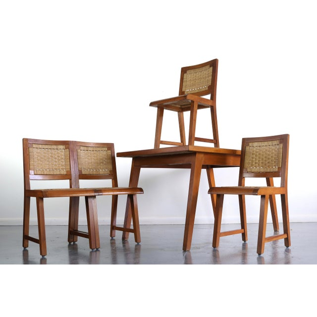 Articulate Woven Mid Century Dining Set in Teak With Glass Top Table For Sale - Image 9 of 9