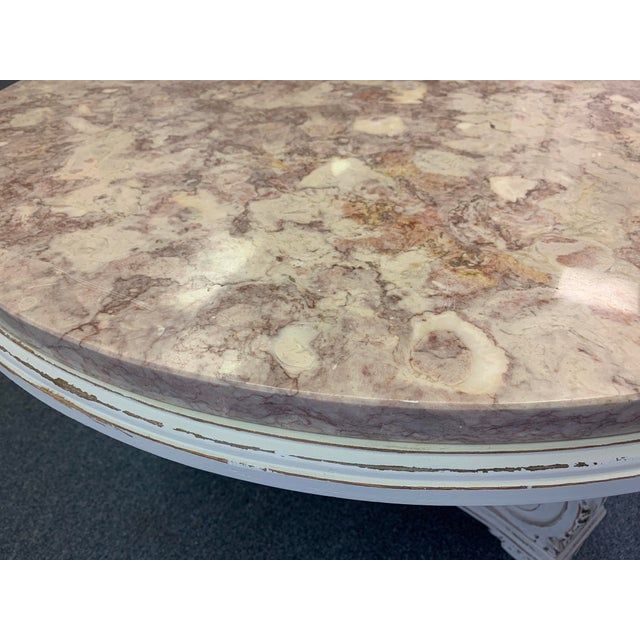 1950s French Neoclassical Aurora Blush Marble Coffee Table For Sale - Image 5 of 9
