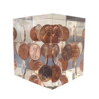 Vintage Lucite Coin Cube For Sale