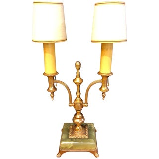 Empire Style Onyx Base Bouiliotte Lamp, 1920s For Sale