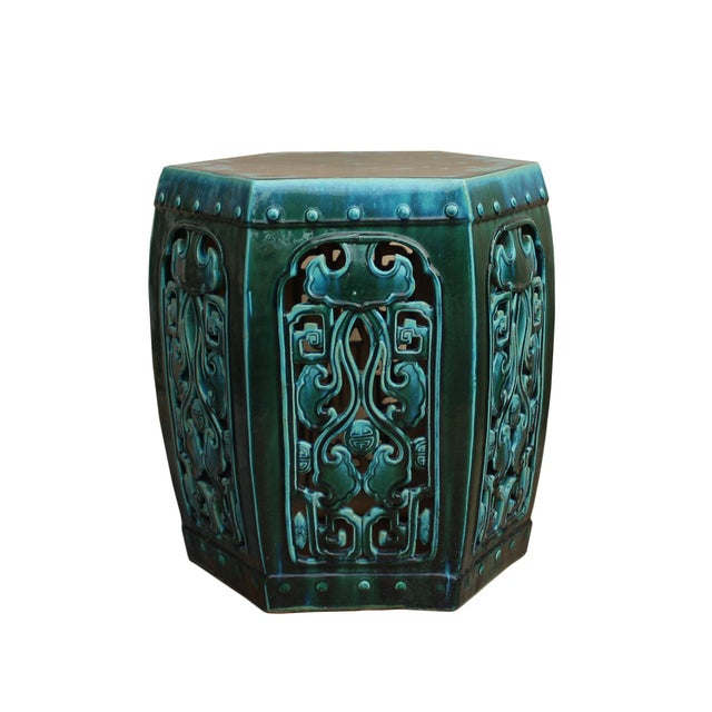 Clay Ceramic Clay Green Turquoise Glaze Hexagon Motif Garden Stool Table For Sale - Image 7 of 7