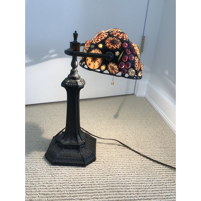 Arts & Crafts Vintage Stained Glass Desk Lamp For Sale - Image 3 of 5