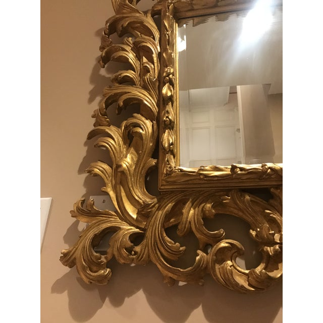 Antiqued Art Deco Gold Brocade Wall Mirror For Sale - Image 9 of 11