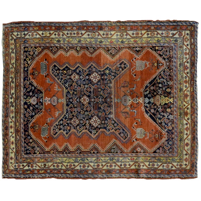 "1900s Handmade Antique Persian Mishan Malayer Rug - 4'9"" X 6' For Sale - Image 5 of 6"