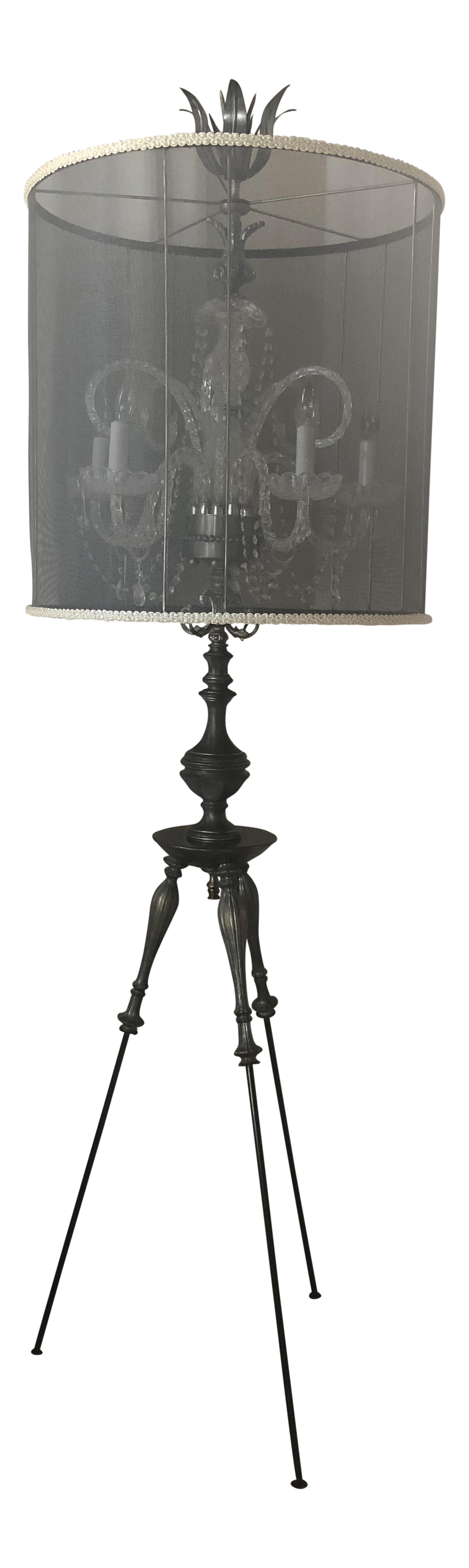 Luna Bella Tripod Crystal Chandelier Floor Lamp