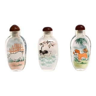 Snuff Bottle Eglomise Reverse Painted Zodiac Animals - Set of 3 For Sale