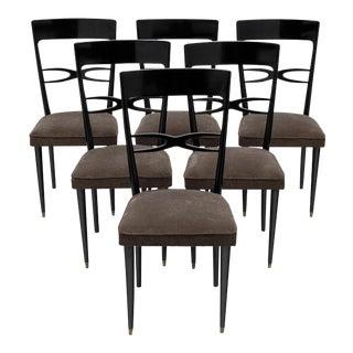Art Deco Set of Ebonized Mahogany Dining Chairs For Sale