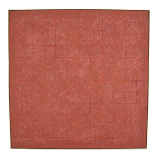 Vincent Longo American Grid in Terracotta Square Acrylic Painting With Frame For Sale