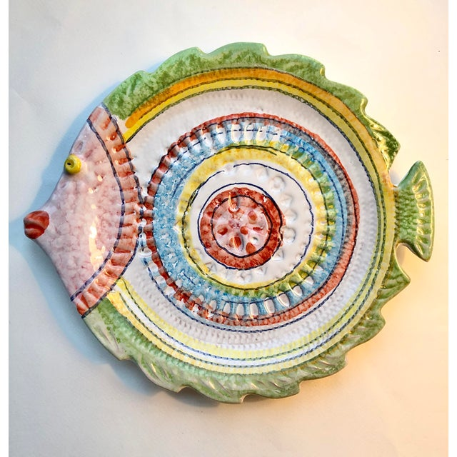 Children's Hand Painted Italian Fish Plate For Sale - Image 3 of 3