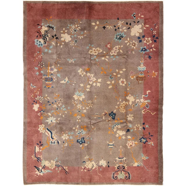 1920s Vintage Chinese Art Deco Rug - 9′ × 11′8″ For Sale