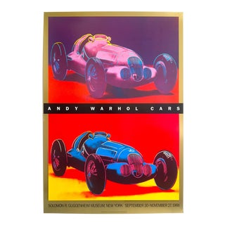"Andy Warhol Estate Rare 1988 Lithograph Print Guggenheim Exhibition Pop Art Poster "" Mercedes Benz W125 Grand Prix Car "" For Sale"