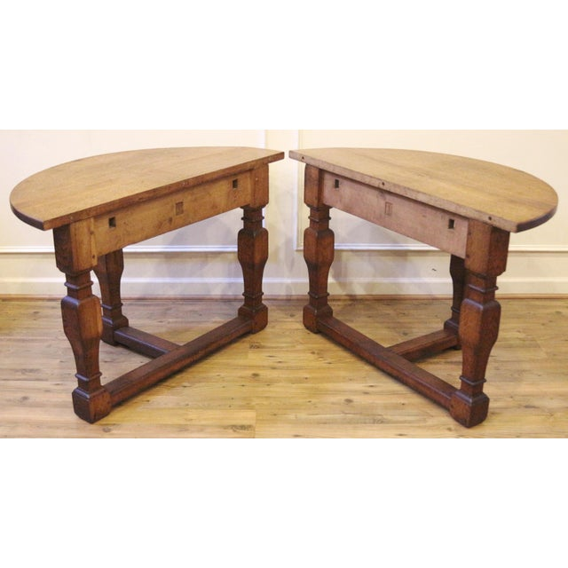 19th Century Country Oak Demi Lune Console Tables - a Pair For Sale In Raleigh - Image 6 of 11