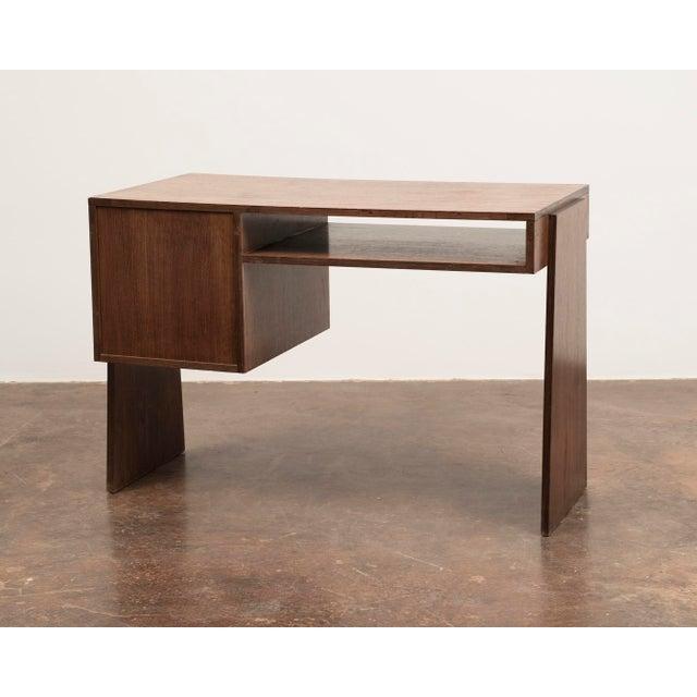 Handsome French Modernist Desk in Walnut, 1950s For Sale - Image 4 of 12