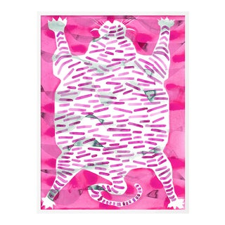 Tiger Rug Raspberry by Kate Roebuck in White Framed Paper, XS Art Print For Sale
