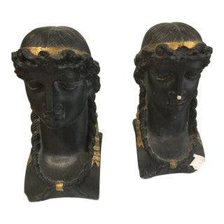 Empire Style Black & Gold Plaster Busts - a Pair For Sale