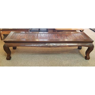 Mid 20th Century Hand Carved Elm Wood Monk's Bed / Bench Preview