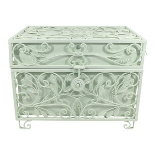 Late 20th Century Vintage Mint Green Metal Box For Sale