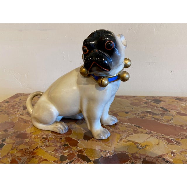 Black Figurative Standing German Pug With Bell Collar For Sale - Image 8 of 9