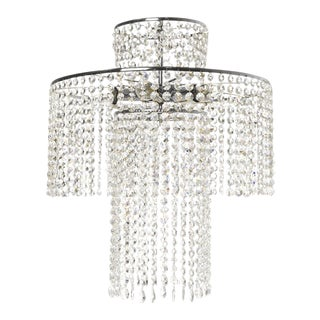 Rainfall Crystal Chandelier in Nickel Plated Brass With Crystal Octagons (Width 42cm/17 Inches) For Sale