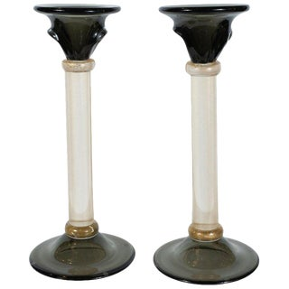 Modernist Handblown Murano Smoked Glass Candlesticks With 24-Karat Gold - a Pair For Sale