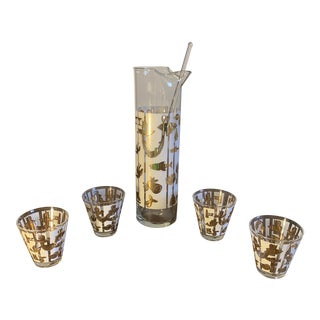 1950s Fred Press Sea Life Cocktail Set with 4 Cocktail Shot Glasses, a Pitcher, and Glass Stir Stick - 6 Pieces For Sale