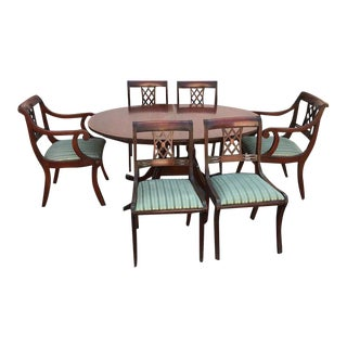 Mid 20th Century Oval Mahogany Dining Set - 7 Pieces For Sale