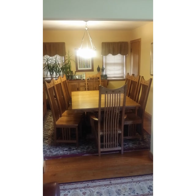 Solid Quatersawn Oak Mission-Style Dining Set - Set of 9 For Sale - Image 12 of 13