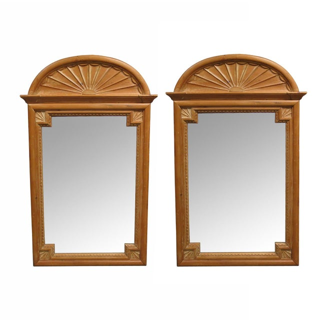 1900s 1900s Vintage La Barge Carved Pine Georgian Style Mirrors- a Pair For Sale - Image 5 of 5