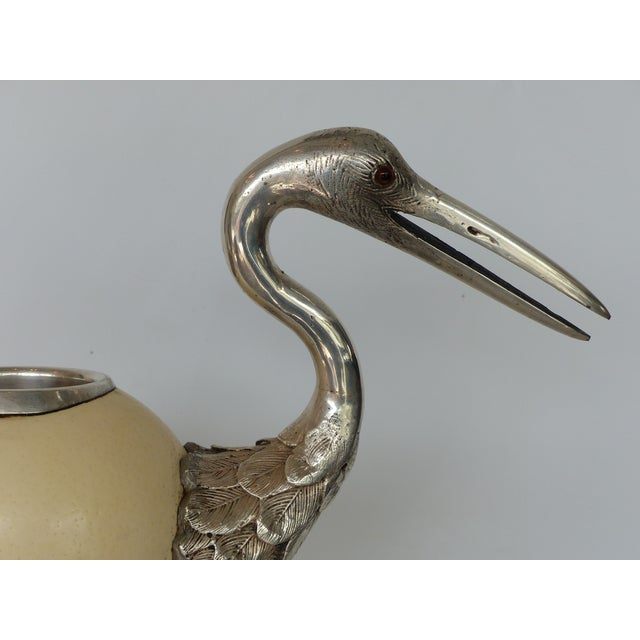 Metal Art Deco Anthony Redmile Ostrich Egg Silver Plated Crane For Sale - Image 7 of 13