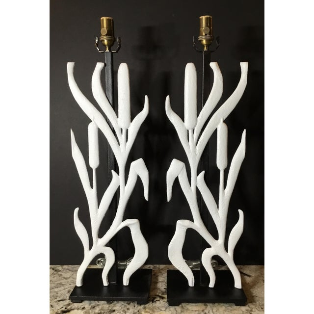 Cast Iron Abstract Cattail Iron Table Lamps - a Pair For Sale - Image 7 of 12