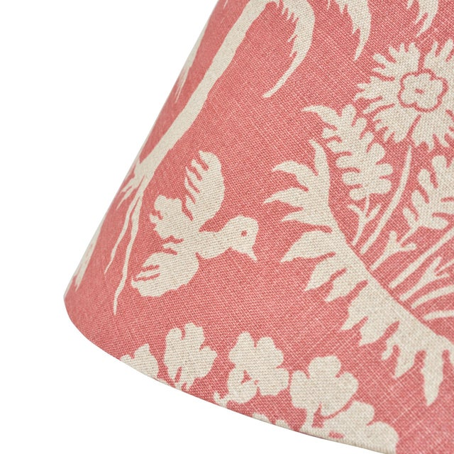 Contemporary Schumacher Woodland Silhouette Linen Lampshade in Rhubarb For Sale - Image 3 of 5