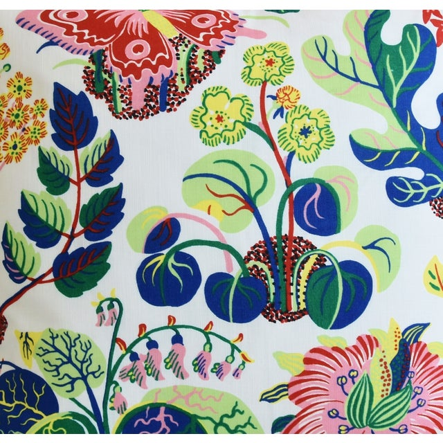"""Josef Frank Schumacher Exotic Butterfly Floral Feather/Down Pillows 24"""" Square - Pair For Sale - Image 4 of 13"""