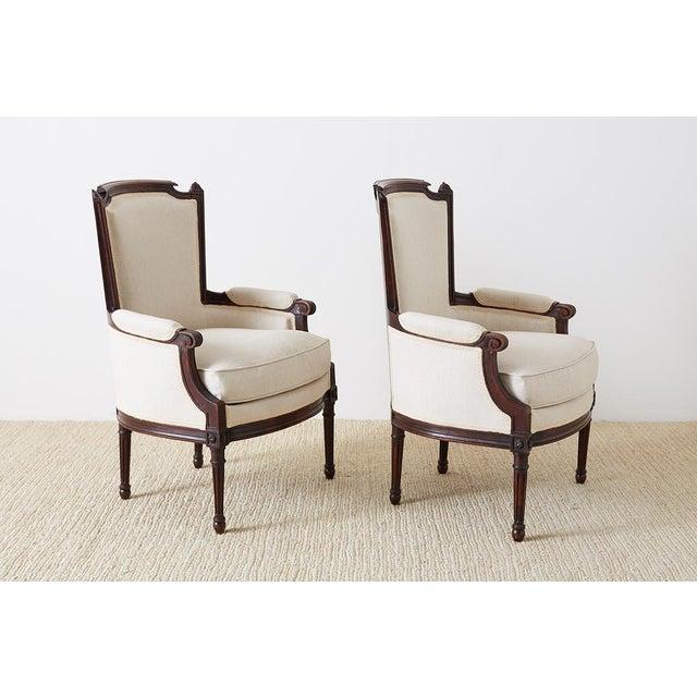 Brown Pair of Maison Jansen Louis XVI Style Walnut Bergères For Sale - Image 8 of 13
