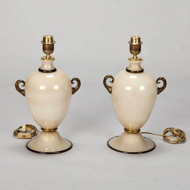 Pair of Mid Century Murano Amphora Art Glass Aventurine Table Lamps - Image 3 of 8