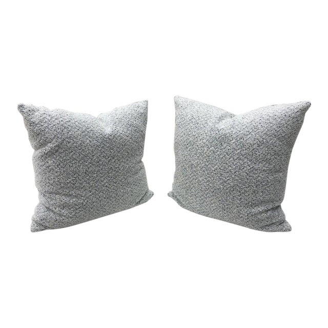 Custom White and Blue Boucle Pillows - A Pair For Sale
