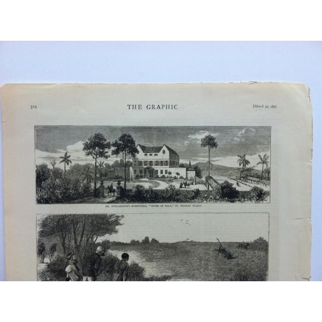 "English 1878 Antique ""Sketches From the West Coast of Africa"" The Graphic News Print For Sale - Image 3 of 4"
