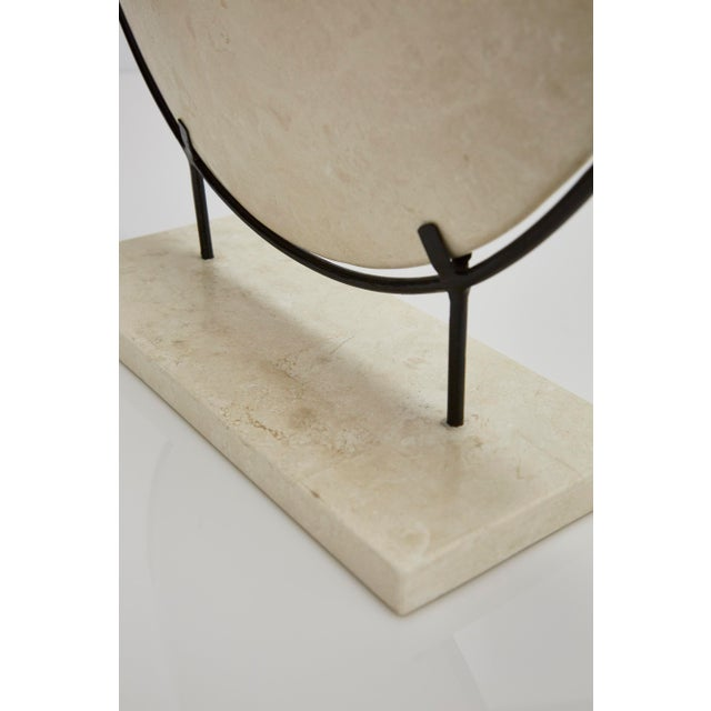 "1990s Contemporary Marquis Collection Tessellated Stone ""Illusion"" Plate on Iron Stand For Sale In Los Angeles - Image 6 of 12"