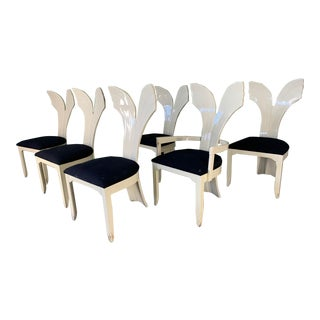 Sculptural Fish Tail Back Dining Chairs in the Manner of Ello - Set of Six For Sale