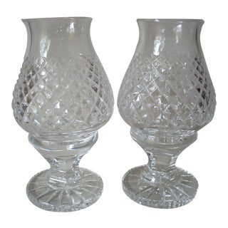 1980s Waterford Small Crystal Hurricane Lamps - a Pair For Sale