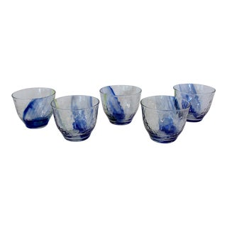 Late 20th Century Blown Swirl Glass Sake Cups - Set of 5 For Sale
