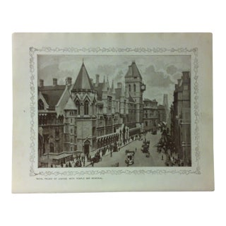 """1906 """"Royal Palace of Justice - With Temple Bar Memorial"""" Famous View of London Print For Sale"""