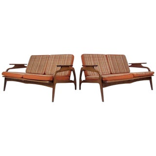Two Mid-Century Upholstered Settees For Sale