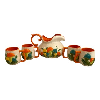 Arnels Mushroom Pitcher With S/4 Mugs For Sale