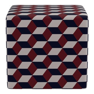 Cube Ottoman in Red Navy Cube For Sale